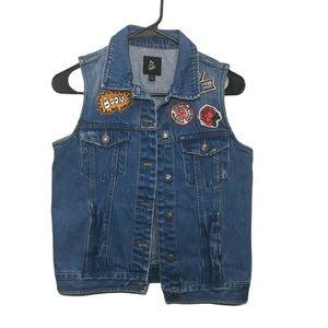 Art Class Girl's Denim Vest L (10/12) Appliqués